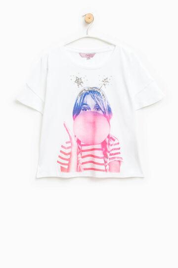 Camiseta de algodón con estampado grande, Crema, hi-res
