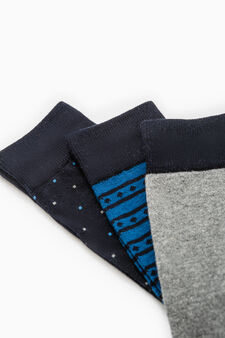 Three-pair pack long stretch patterned socks, Blue, hi-res