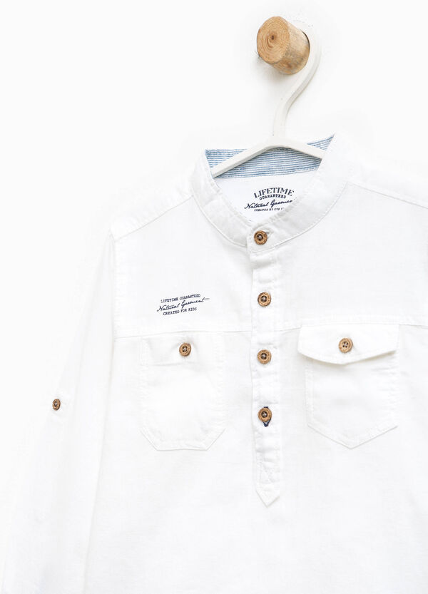 Linen blend shirt with two pockets | OVS
