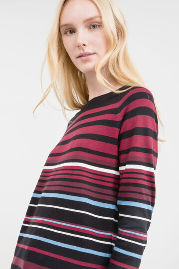 Striped cotton blend pullover, Black, hi-res