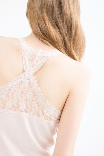 100% cotton vest with lace, Powder Pink, hi-res