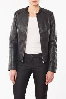Faux leather jacket, Black, hi-res