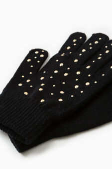 Solid colour gloves with diamantés, Golden Yellow, hi-res