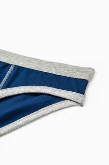 Solid colour stretch cotton briefs, Navy Blue, hi-res