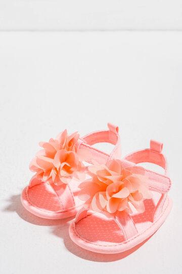 Sandalias de tela con lunares y flor, Rosa coral, hi-res