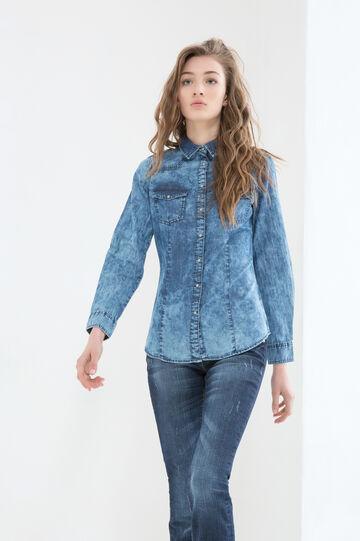 Denim shirt with contrasting colour seams., Denim, hi-res