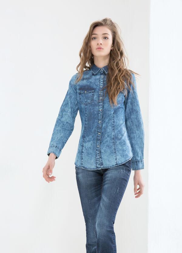Denim shirt with contrasting colour seams. | OVS