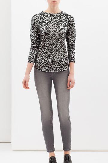 Animal print stretch T-shirt, Black/Grey, hi-res