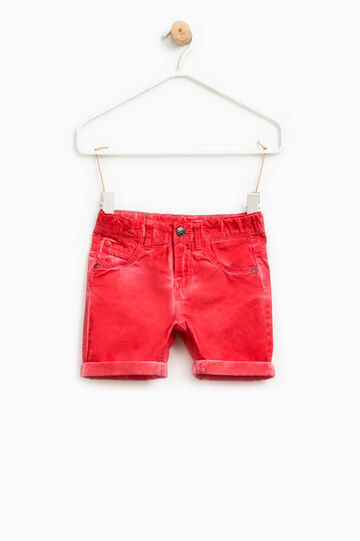 Cotton Bermuda shorts with turn-up, Red, hi-res