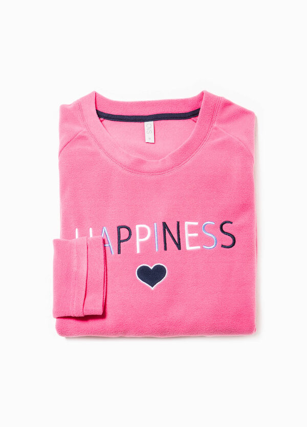 Fleece pyjama top with embroidery | OVS