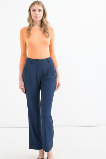 Plain stretch trousers, Blue, hi-res