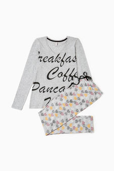 Heart pattern cotton pyjamas, Grey Marl, hi-res