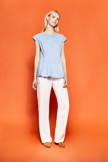 Cotton blouse with pleating