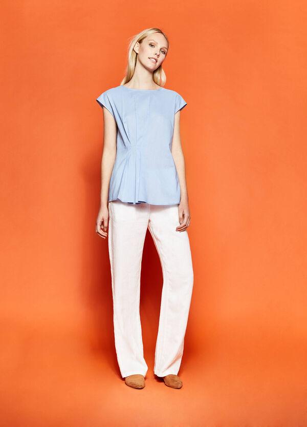 Blusa de algodón con pliegues | OVS