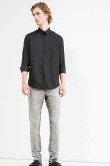 Slim-fit casual shirt in cotton blend, Black, hi-res