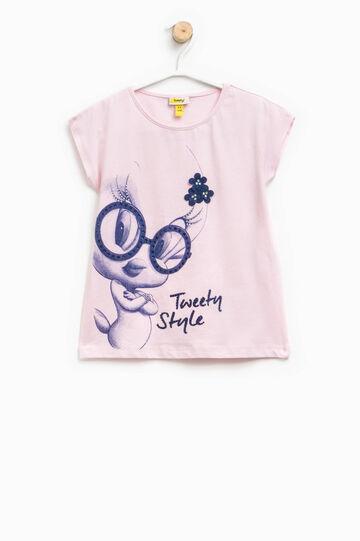 T-shirt with Tweetie Pie print, diamantés and flowers, Light Pink, hi-res