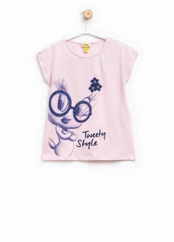 T-shirt with Tweetie Pie print, diamantés and flowers | OVS