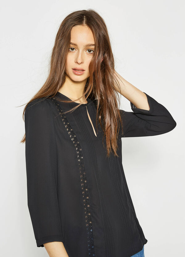Pleated blouse with lace | OVS