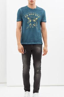 T-shirt stampata con cuciture a contrasto, Blu oceano, hi-res