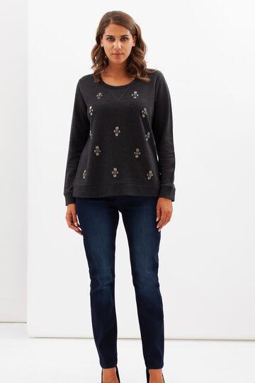 T-shirt Curvy con perline, Grigio antracite, hi-res