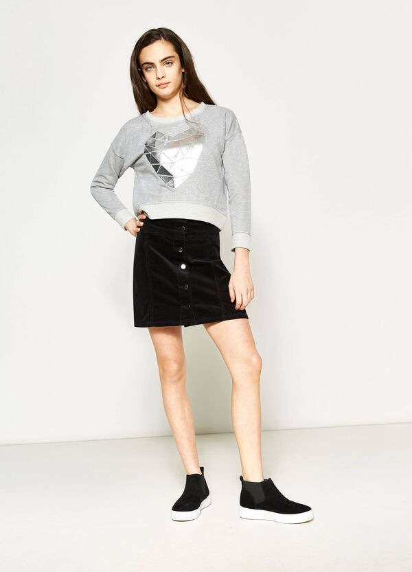 Teen mélange crop sweatshirt with lurex | OVS
