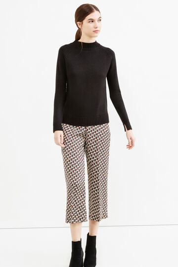 Crop trousers with diamond pattern, Brown, hi-res