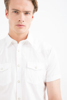 100% cotton shirt with pockets, White, hi-res