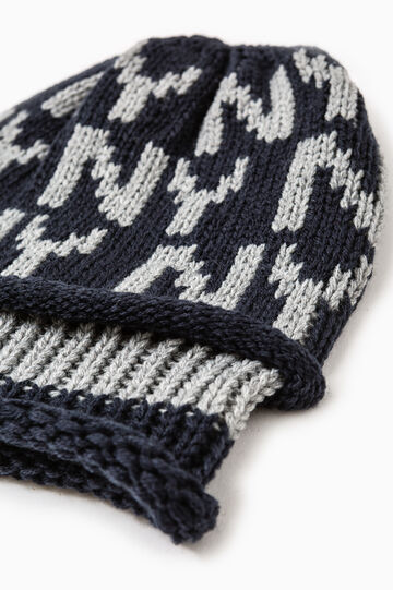 Knitted and embroidered beanie cap, Navy Blue, hi-res