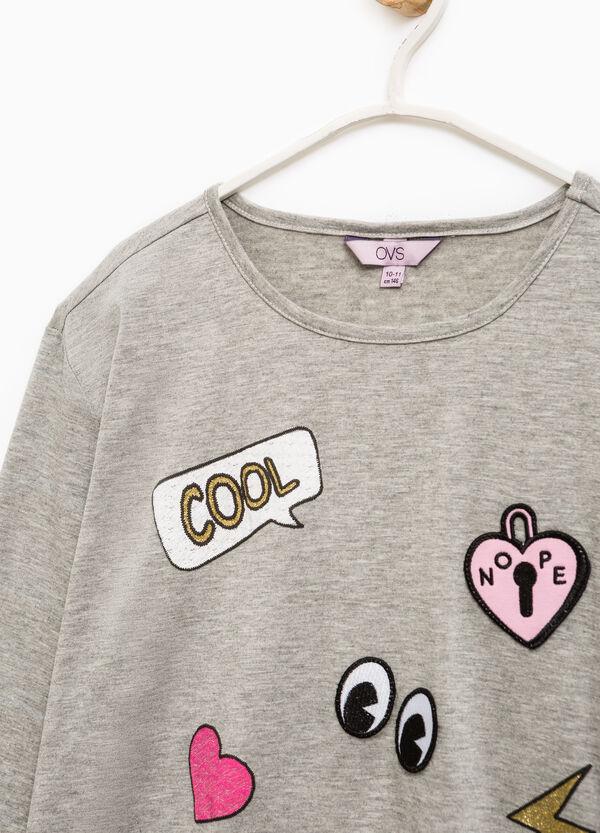 T-shirt viscosa patch con paillettes   OVS