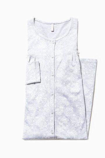 Floral patterned nightshirt, White/Grey, hi-res