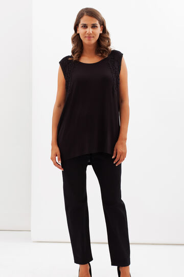Curvy embroidered stretch top, Black, hi-res