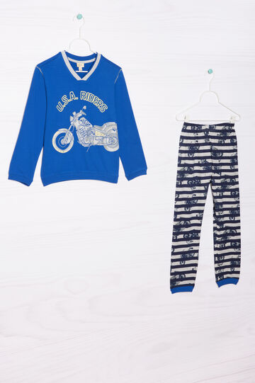 Striped pyjamas in 100% cotton, Cream White, hi-res