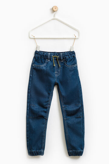 Jeans with elastic waist band and drawstring., Soft Blue, hi-res