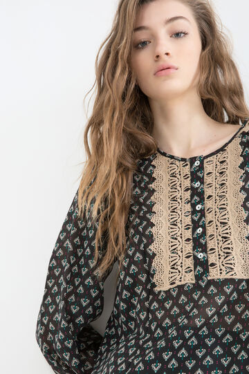Patterned and embroidered blouse