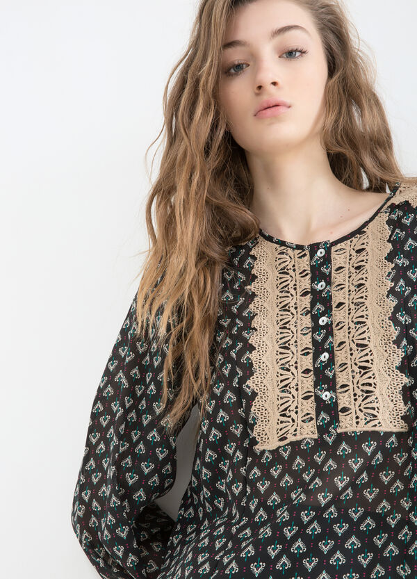 Patterned and embroidered blouse | OVS