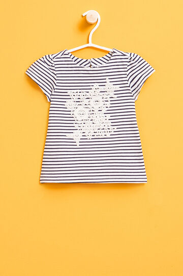 Striped T-shirt with lace and puff sleeves, White/Blue, hi-res