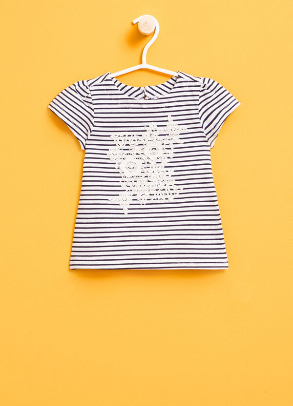 Striped T-shirt with lace and puff sleeves | OVS