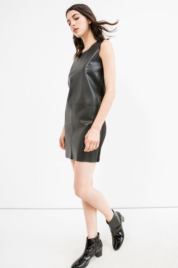 Sleeveless dress in viscose blend., Black, hi-res