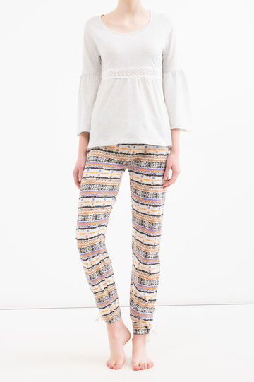 Stretch cotton pyjamas with pattern, Grey Marl, hi-res