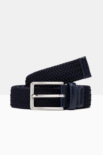 Braided belt with metal buckle, Dark Blue, hi-res