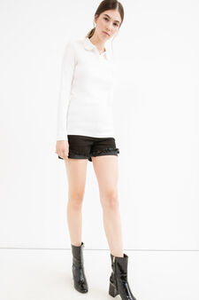 Polo shirt in 100% cotton with long sleeves, White, hi-res