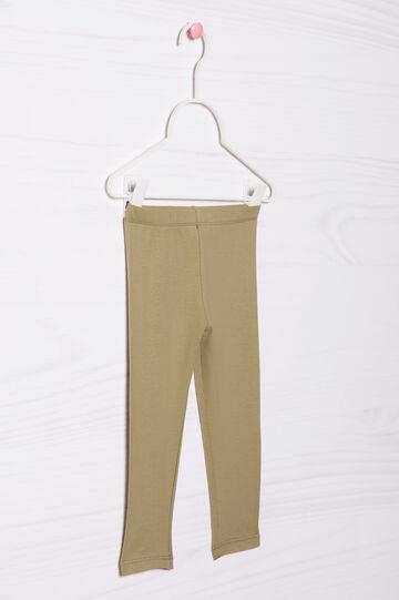 Leggings cotone stretch tinta unita, Verde militare, hi-res