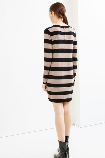 Stretch dress with striped pattern and zip on back, Beige, hi-res