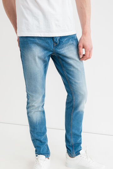 Worn-effect, loose-fit jeans with fading, Medium Wash, hi-res