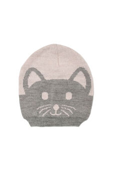 Hat with embroidered kitten, Pink, hi-res