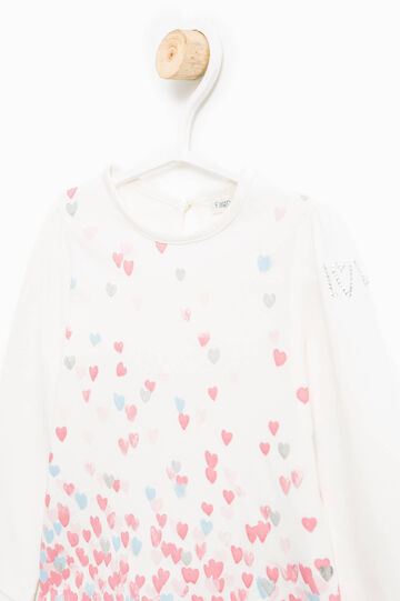 T-shirt with print and diamantés, Milky White, hi-res