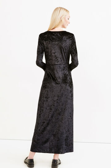 Long stretch velvet dress with split, Black, hi-res