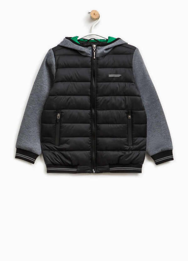 Jacket with contrasting sleeves and hood | OVS