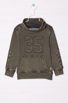 Cotton sweatshirt with high neck., Green, hi-res