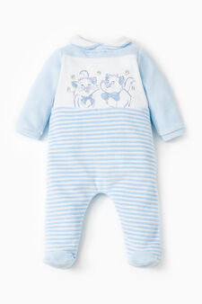 Onesie with The Aristocats embroidery and stripes, White/Light Blue, hi-res
